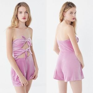 Urban Outfitters Maddie Velvet Tie-front Romper